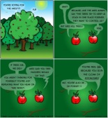 Treehugging apples fighting for their trees [cartoon]