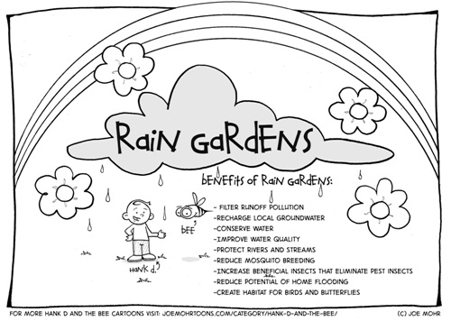 Hank D And The Bee Rain Garden Coloring Sheet Broster By Joe Mohr. Water  Conservation ...