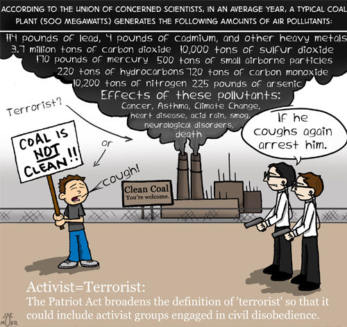 Activist equals terrorist